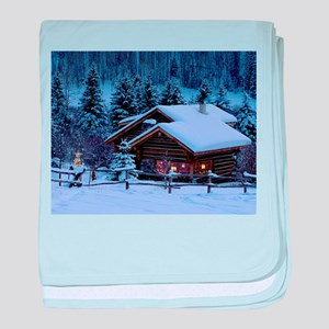 Log Cabin During Christmas baby blanket