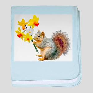 Squirrel Daffodils baby blanket