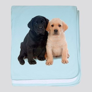 Black and White Labrador Puppies. baby blanket
