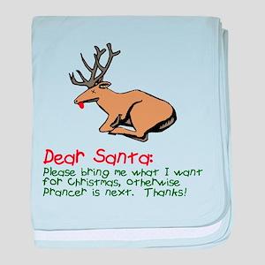 Dear Santa Shot Reindeer Pran baby blanket