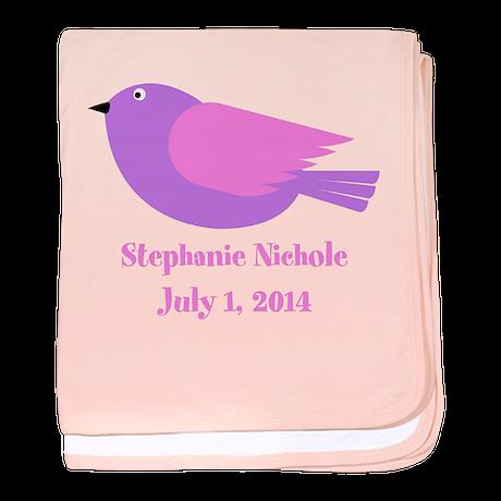 Bird (purple) Baby Blanket