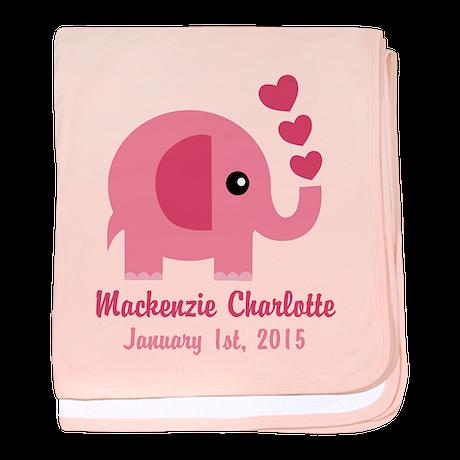 Pink Elephant CUSTOM Baby name birthdate baby blan