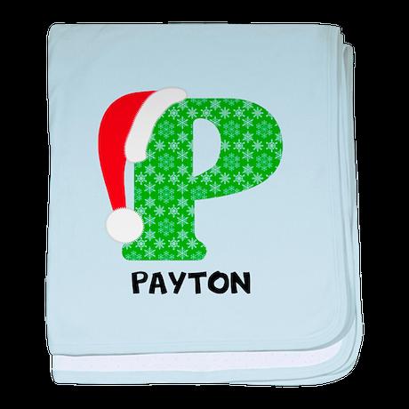 Christmas Letter P Monogram baby blanket by designsanddesigns
