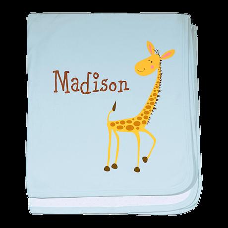 Custom Name Giraffe baby blanket