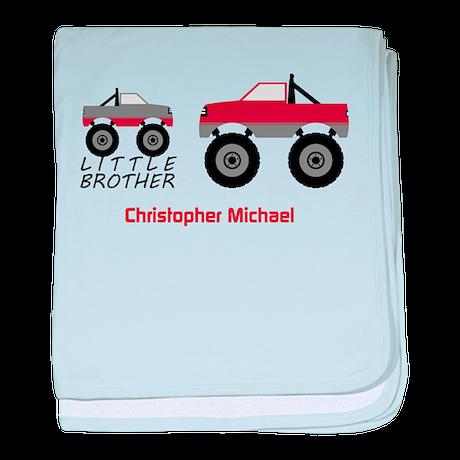 Little Brother Trucks Baby Blanket