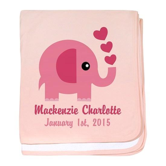 Pink Elephant CUSTOM Baby name  birthdate
