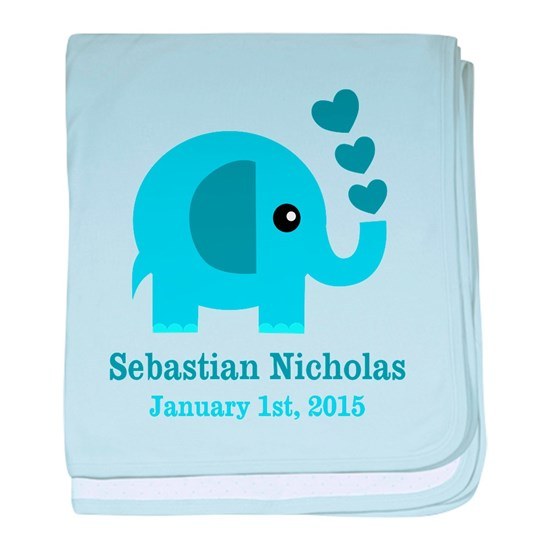 Blue Elephant CUSTOM baby name  birthdate