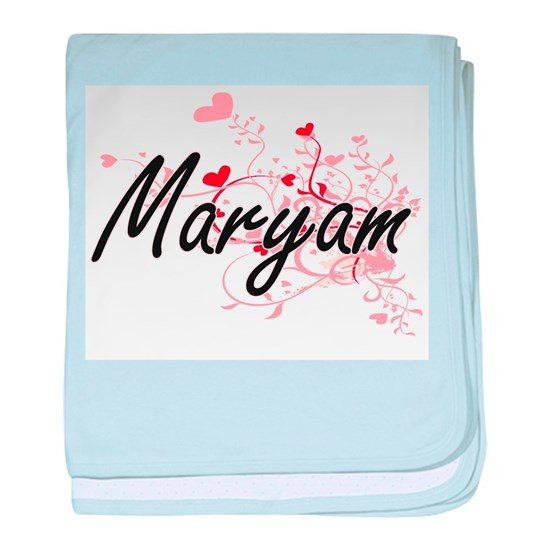 Maryam Artistic Name Design with Hear baby blanket