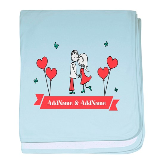 Personalized Names Couple Hearts baby blanket