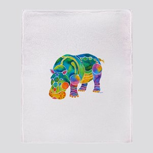 Best HIPPO in Many Colors Throw Blanket