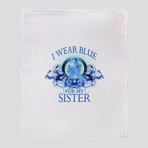 I Wear Blue for my Sister (floral) Throw Blanket