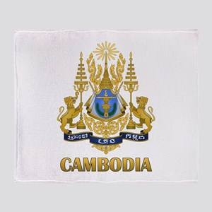 Cambodia Coat Of Arms Throw Blanket
