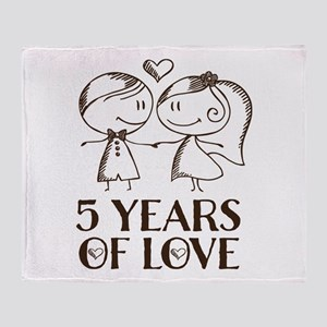 5th Anniversary chalk couple Throw Blanket
