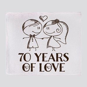 70th Anniversary chalk couple Throw Blanket