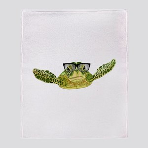 Turtle nerd power Throw Blanket