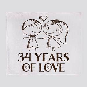 34th Anniversary chalk couple Throw Blanket