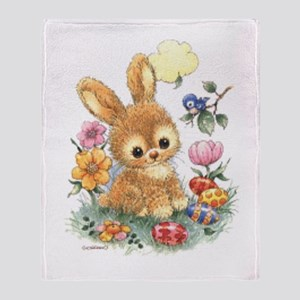 Cute Easter Bunny With Flowers And Throw Blanket