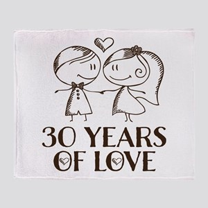 30th Anniversary chalk couple Throw Blanket