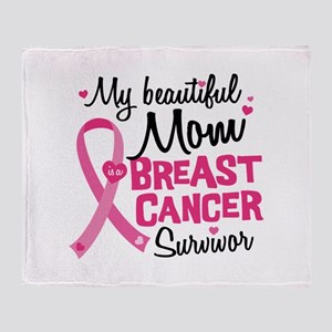 Mom Breast Cancer Throw Blanket