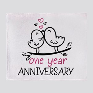 1st Anniversary Cute Couple Doodle B Throw Blanket