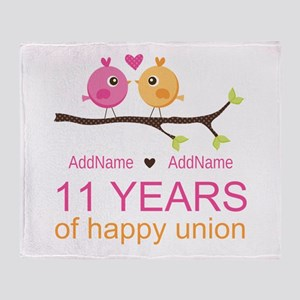 11th Anniversary Personalized Throw Blanket