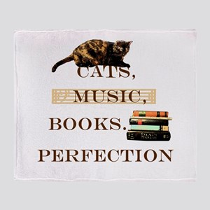Cats, books and music Throw Blanket