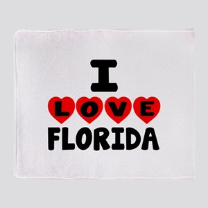 I Love Florida Throw Blanket