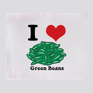 I Heart (Love) Green Beans Throw Blanket