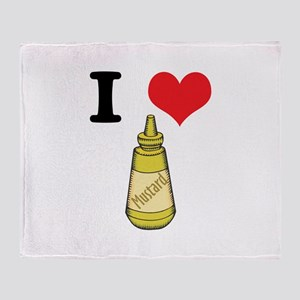 I Heart (Love) Mustard Throw Blanket