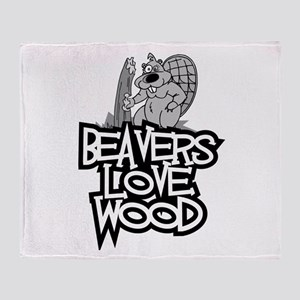 Beavers Love Wood Throw Blanket