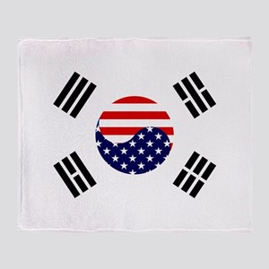 Korean-American Flag Throw Blanket