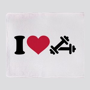 I love barbell dumbbell Throw Blanket
