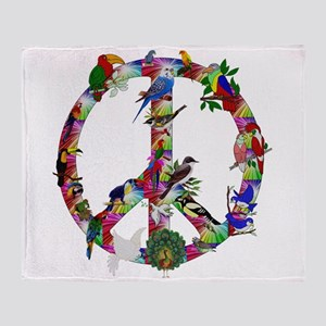 Colorful Birds Peace Sign Throw Blanket