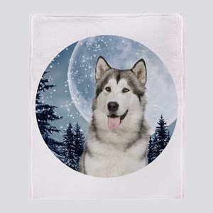 Winter Moon Husky Throw Blanket