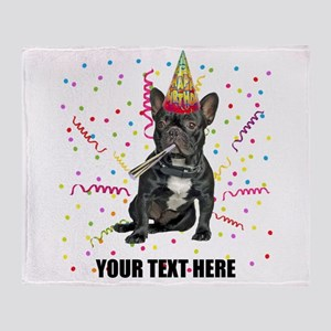 Custom French Bulldog Birthday Throw Blanket