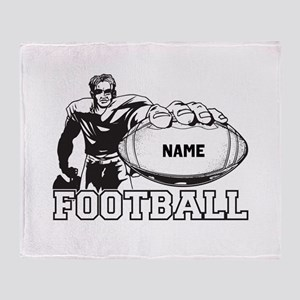 Personalized Football Player Throw Blanket