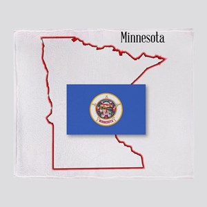 Minnesota State Map and Flag Throw Blanket