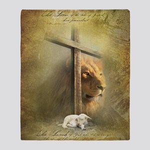 Lion of Judah, Lamb of God Throw Blanket