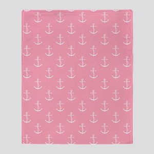 Pink Anchors Throw Blanket