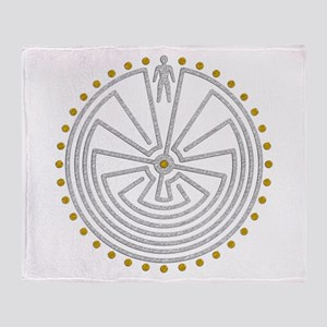 Man In The Maze Medallion Gold Silve Throw Blanket