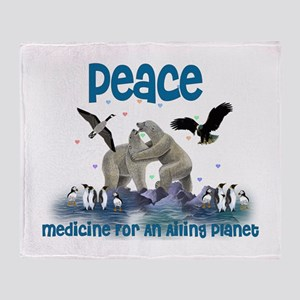 Peace Heals Planet Throw Blanket