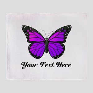 Purple Butterfly Custom Text Throw Blanket