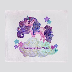 Cute Personalized Unicorn Throw Blanket