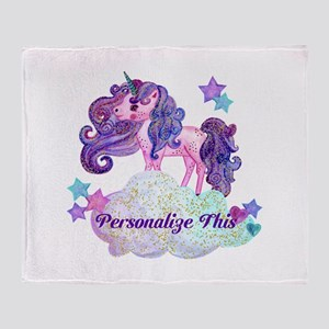Watercolor Unicorn Monogram Throw Blanket