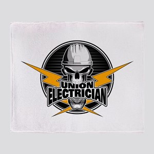 Union Electrician Skull Throw Blanket