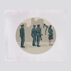 Soldier Bagpiper Marching Circle Watercolor Throw