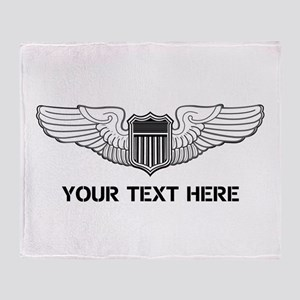 PERSONALIZED PILOT WINGS Throw Blanket
