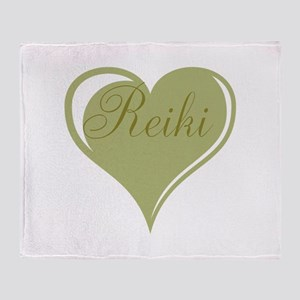 Reiki Green Heart Throw Blanket