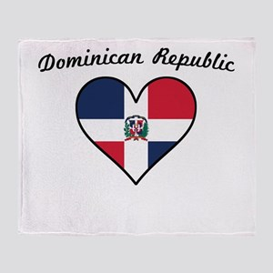 Dominican Republic Flag Heart Throw Blanket