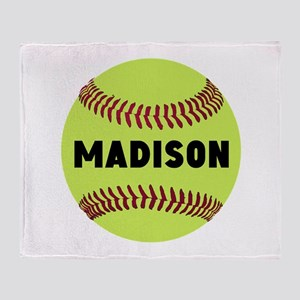 Softball Personalized Throw Blanket